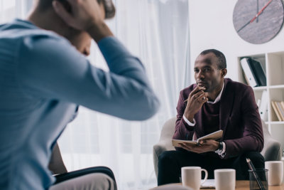 frustrated man under going Counseling